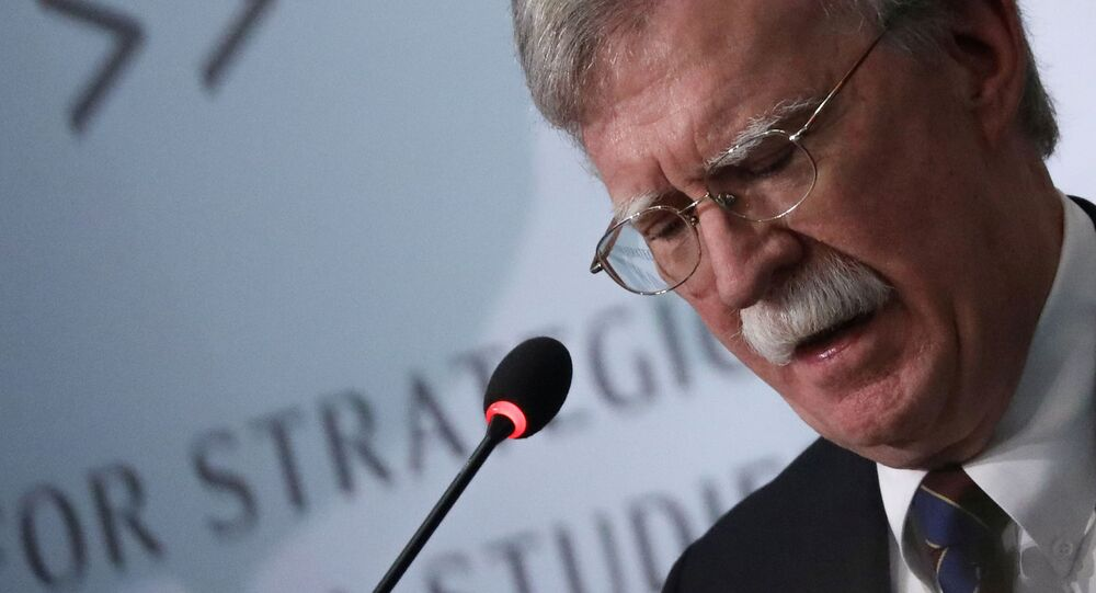 FILE PHOTO: Then-White House national security advisor John Bolton delivers remarks on North Korea at the Center for Strategic and International Studies (CSIS) think tank in Washington, 30 September 2019