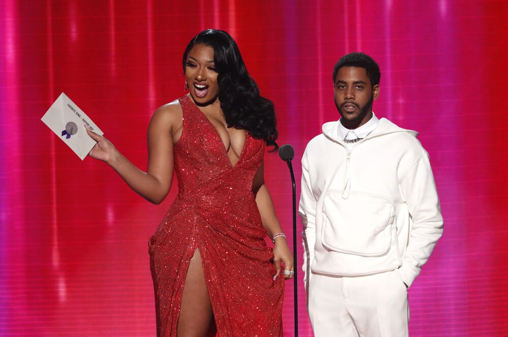 Megan Thee Stallion and Jharrel Jerome present the Favourite Song Rap/Hip-Hop award at the 2019 American Music Awards show in Los Angeles on 24 November 2019.