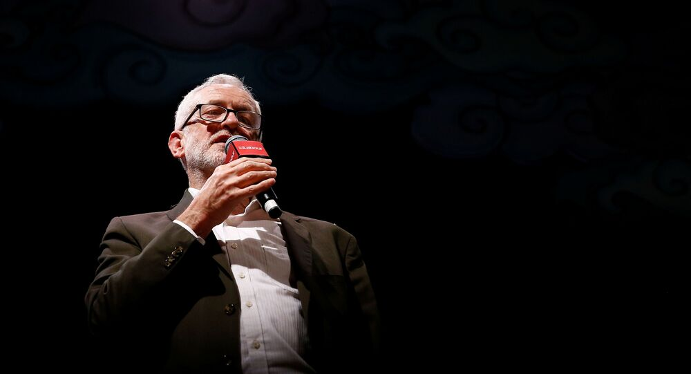 Leader of the Labour Party Jeremy Corbyn speaks at the Theatre Royal in London, Britain, November 24, 2019.