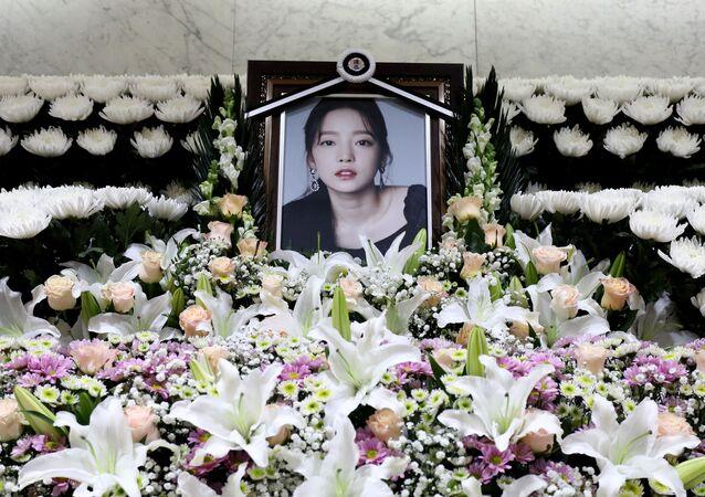 A memorial altar of K-pop star Goo Hara is seen at the Seoul St. Mary's Hospital in Seoul, South Korea November 25, 2019