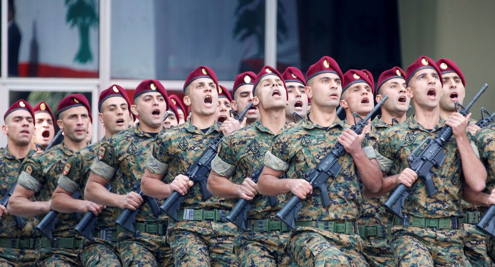 Lebanese soldiers take part in a military parade to mark the 76th anniversary of Lebanon's independence at the Ministry of Defense in Yarze, Lebanon November 22, 2019.