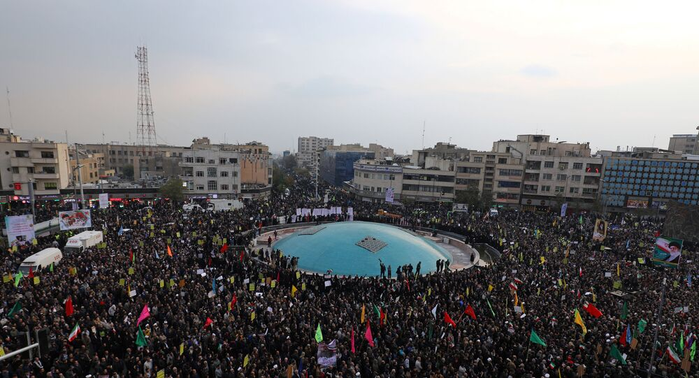 Pro-government protesters attend a demonstration in Tehran