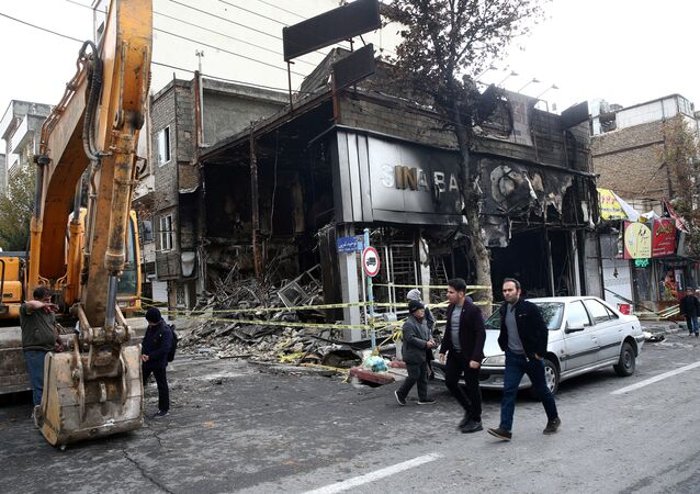 A burnt bank in Tehran