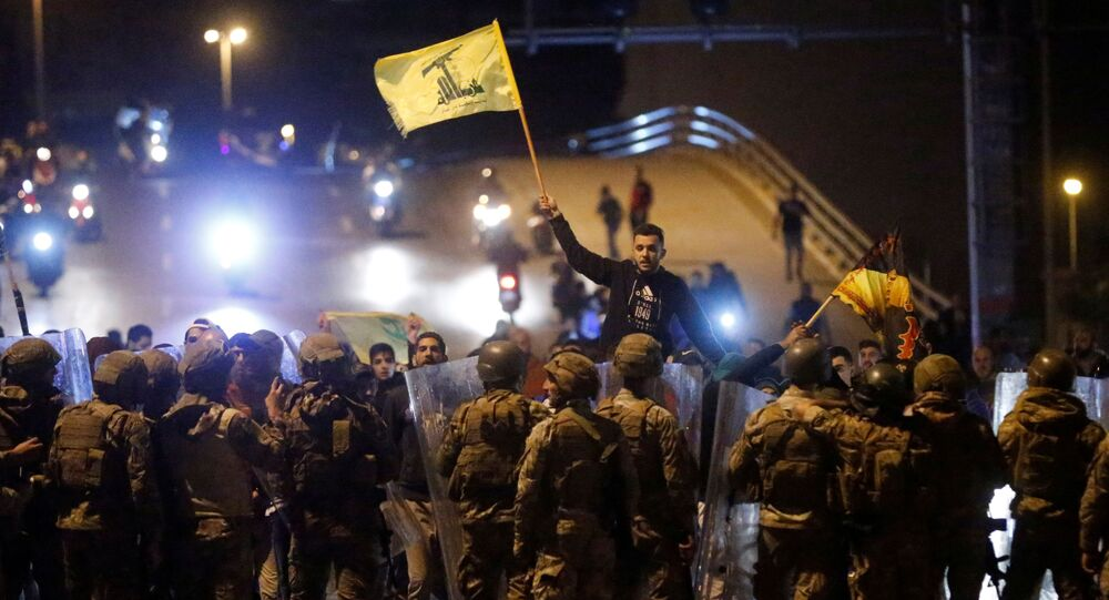 Supporters of the Lebanese Shi'ite groups Hezbollah and Amal in Beirut