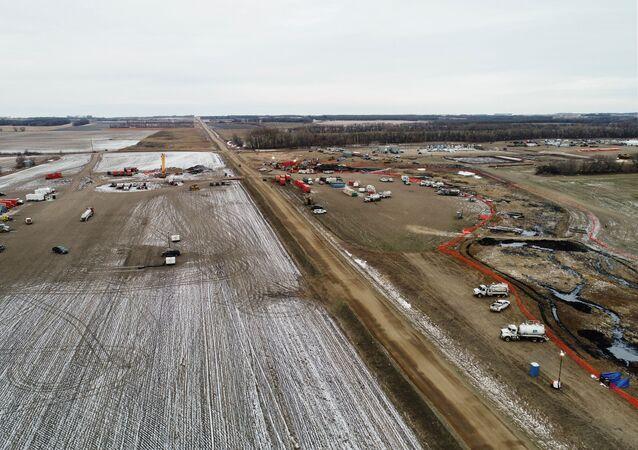 Keystone pipeline in Walsh County, North Dakota