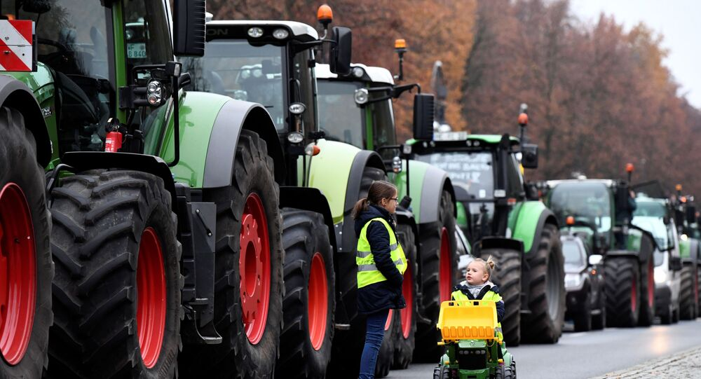 Amarence and Henriette, two girls of a farmer's family from the town of Rathenow, walk past tractors near Brandenburg Gate as farmers gather for a demonstration against the agricultural policies of the federal government, in Berlin, Germany, November 26, 2019.