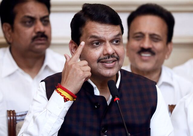 Bharatiya Janata Party (BJP) leader Devendra Fadnavis speaks during a press conference after announcing his resignation as Maharashtra chief minister in Mumbai, India, November 26, 2019
