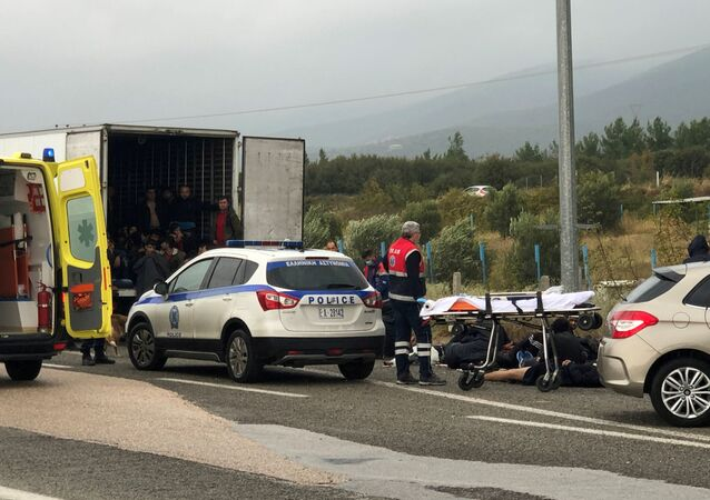 Migrants inside a refrigerated truck at a motorway near Xanthi Greece