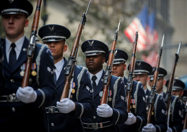 Members of the US Airforce honour guard march in the Veterans Day Parade in New York City, US, November 11, 2019.