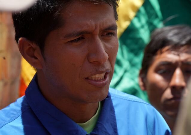 Andronico Rodriguez, leader of coca growers who support Bolivia's ousted President Evo Morales
