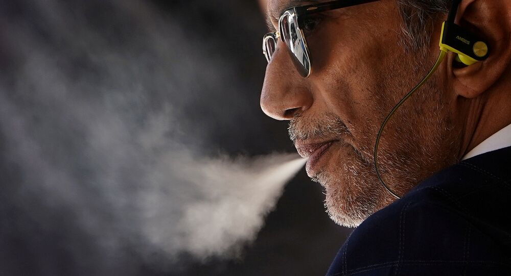 A man with a vaping product in the Manhattan borough of New York