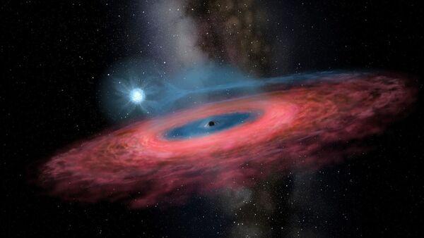 Figure LB-1: Accretion of gas onto a stellar black hole from its blue companion star, through a truncated accretion disk (Artist impression) - Sputnik International