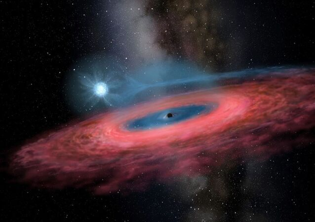 Figure LB-1: Accretion of gas onto a stellar black hole from its blue companion star, through a truncated accretion disk (Artist impression)