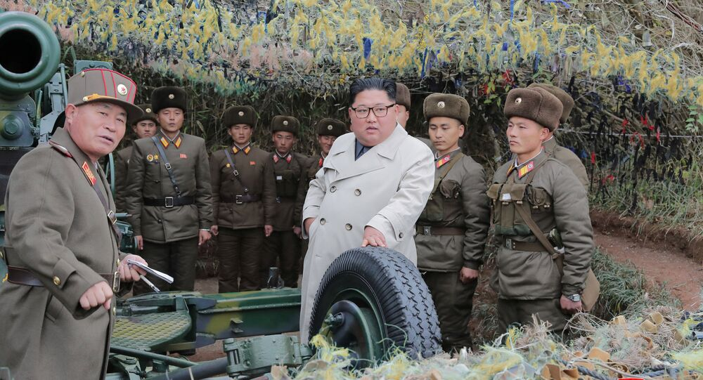 North Korean leader Kim Jong Un visits the Changrindo defensive position on the west front, in this undated picture released by North Korea's Central News Agency (KCNA) on November 25, 2019