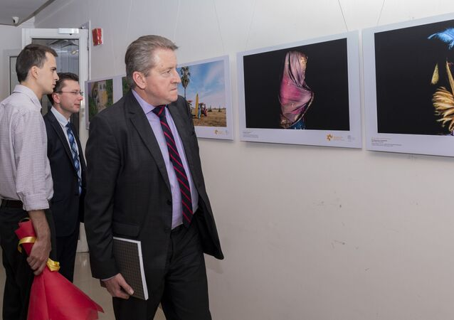 Nikolai Kudashev, Russian Ambassador to India attended the opening ceremony of the Stenin Photo Contest exhibition in New Delhi, India.