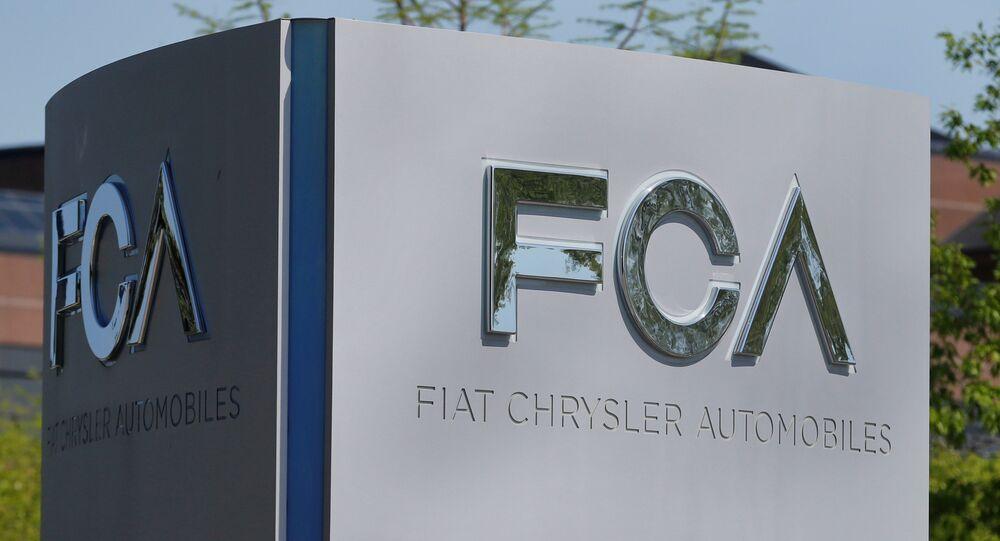 A Fiat Chrysler Automobiles (FCA) sign in Auburn Hills, Michigan