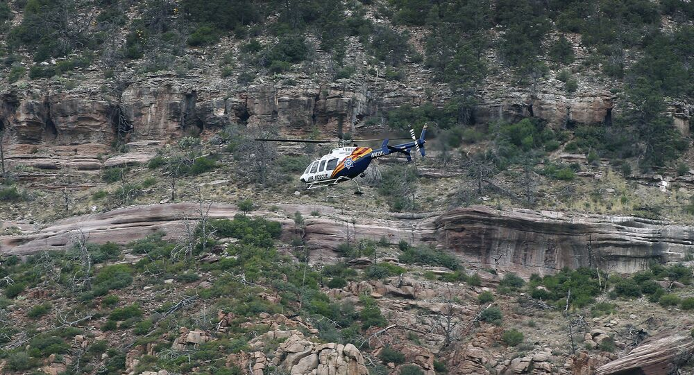 A helicopter near the East Verde River inside the Tonto National Forest