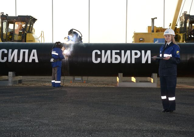Welding at the connection ceremony of the first link of the Power of Siberia gas pipeline on the Namsky tract near the village of Us Khatyn in the presence of Russian President Vladimir Putin.