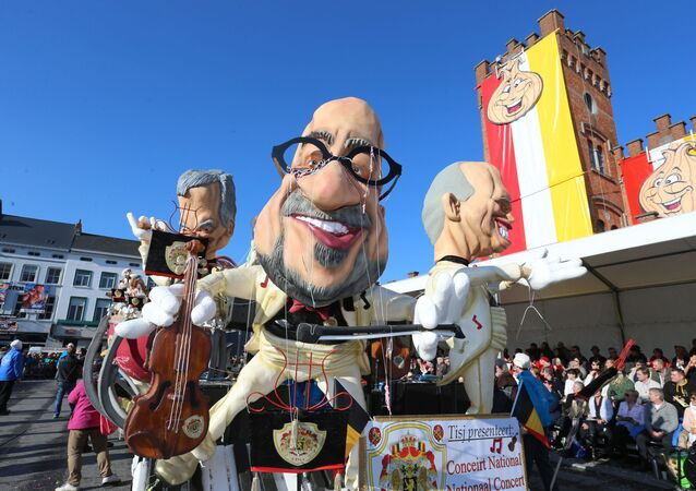 A carnival float during the 87th edition of the carnival parade in the streets of Aalst