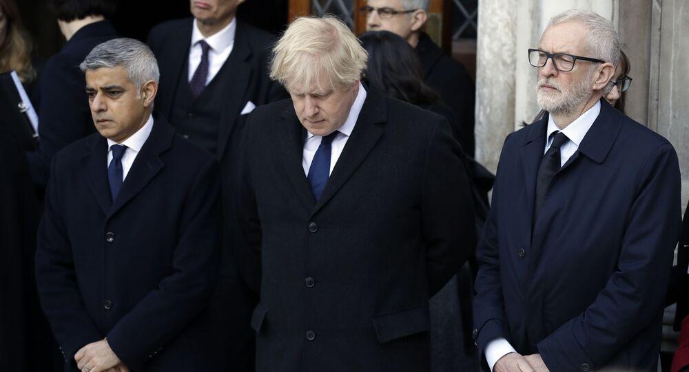 Sadiq Khan, Boris Johnson, and Jeremy Corbyn at London Bridge Vigil
