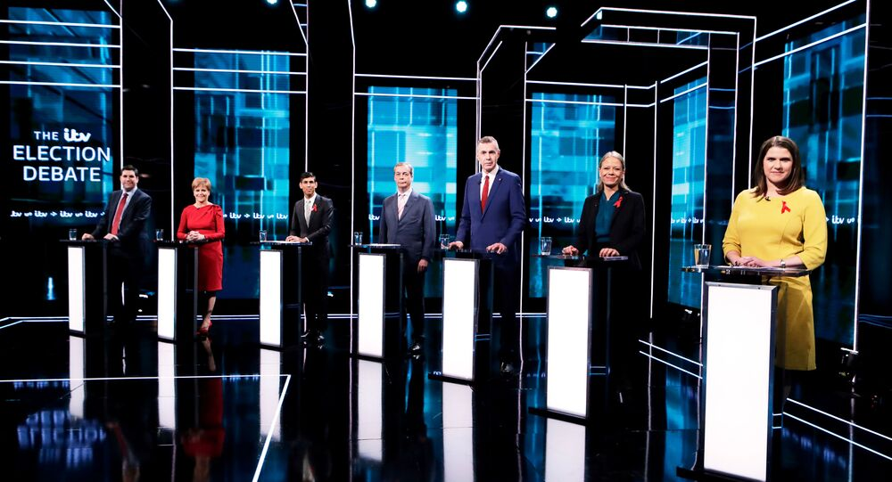 Labour Party's Richard Bergen, SNP leader and Scottish First Minister Nicola Sturgeon, Conservatives' Chief Secretary to the Treasury Rishi Sunak, Brexit Party leader Nigel Farage, Plaid Cymru leader Adam Price, Green Party Co-Leader Sian Berry and British Liberal Democrat leader Jo Swinson attend an election debate in London, Britain December 1, 2019