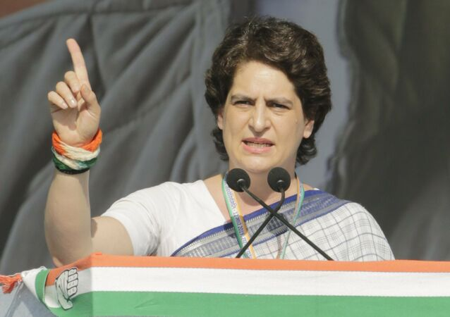 India's main opposition Congress party General Secretary Priyanka Gandhi Vadra speaks during a public meeting at Adalaj in Gandhinagar, India, Tuesday, March 12, 2019