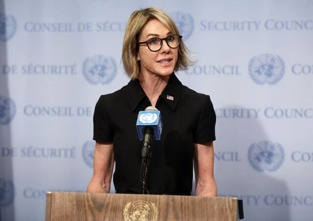 New U.S. Ambassador Kelly Craft talks to the media after attending her first Security Council meeting, at United Nations headquarters, Thursday, Sept. 12, 2019.