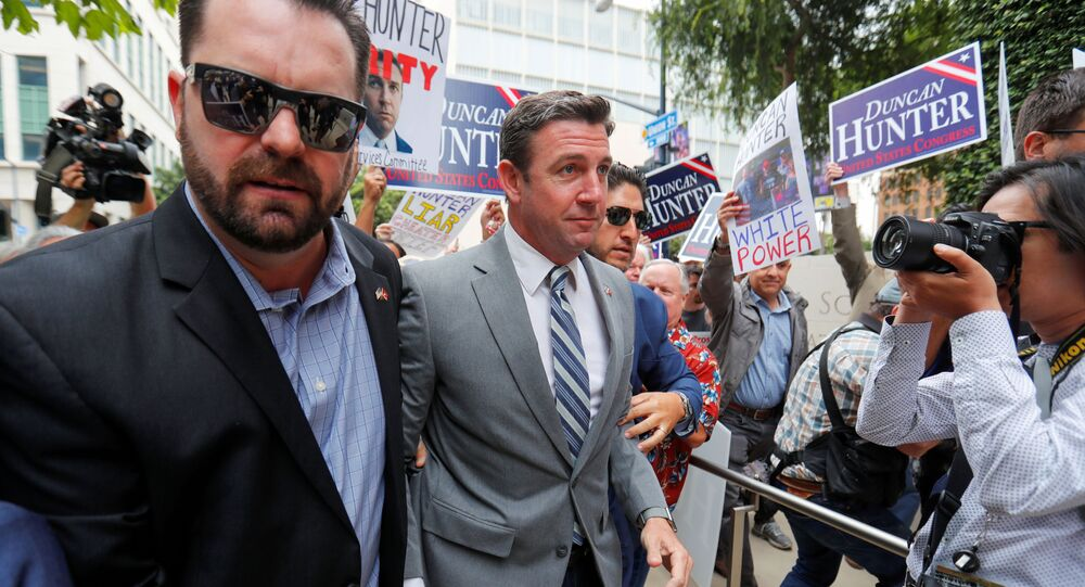 U.S. congressman Duncan Hunter (R-CA) arrives for a motions hearing in his upcoming campaign financing trial at federal court in San Diego