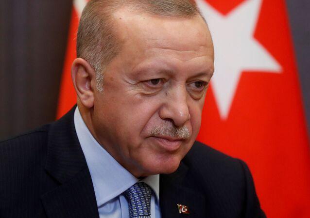 FILE PHOTO: Turkish President Recep Tayyip Erdogan attends a meeting with Russian President Vladimir Putin in the Black sea resort of Sochi, Russia, 22 October 2019