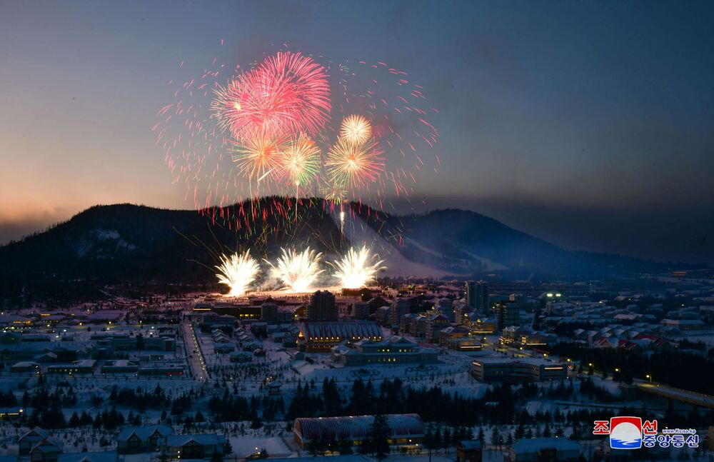 Fireworks explode above during a ceremony celebrating the completion of the township of Samjiyon County, North Korea, in this undated picture released by North Korea's Central News Agency (KCNA) on December 2, 2019.