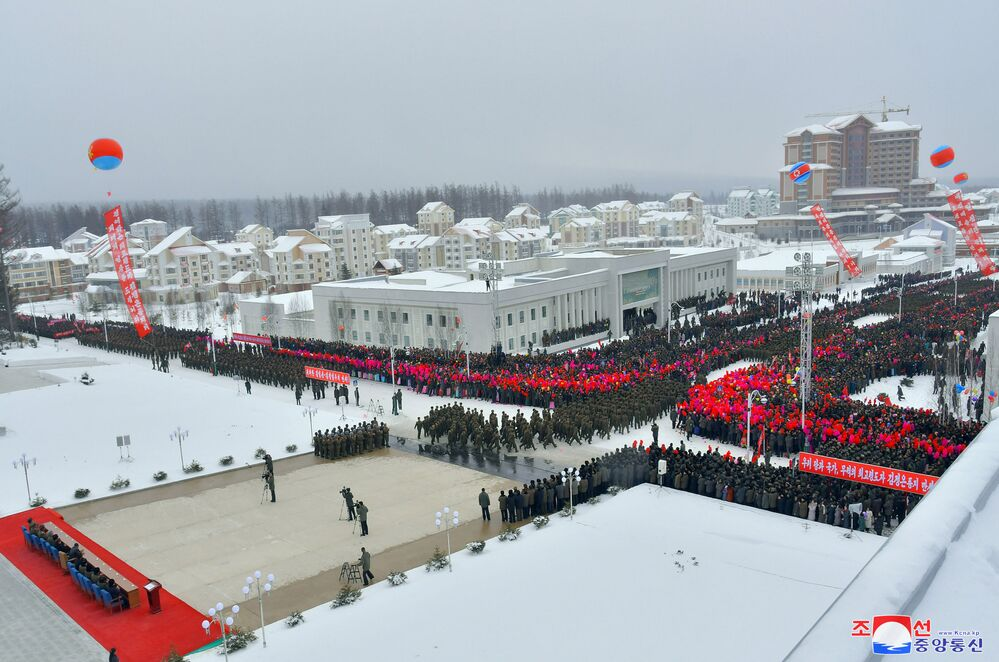 North Korean leader Kim Jong-un attends a ceremony at the township of Samjiyon County, North Korea, in this undated picture released by North Korea's Central News Agency (KCNA) on December 2, 2019.