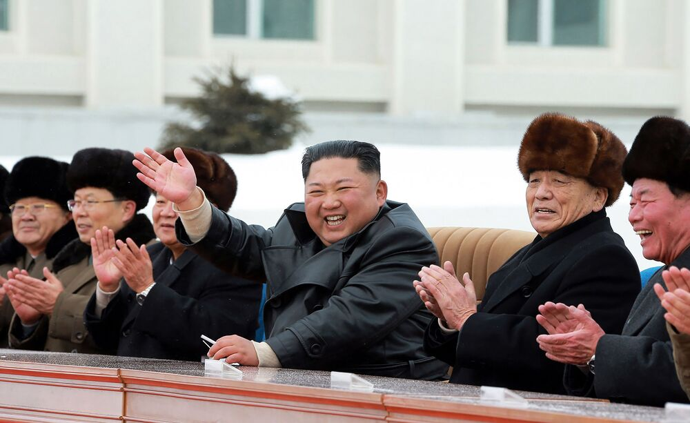 North Korean leader Kim Jong Un (C) attending a ceremony to mark the completion of the construction of the township of Samjiyon County.
