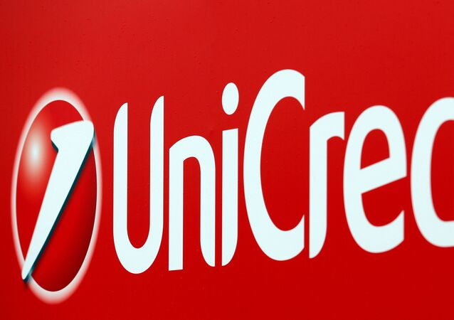FILE PHOTO: Unicredit bank logo is seen on a banner downtown Milan, Italy, May 23, 2016