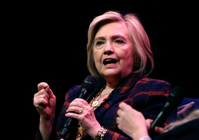 Former U.S. Secretary of State Hillary Clinton speaks during an event promoting The Book of Gutsy Women at the Southbank Centre in London, Britain, November 10, 2019