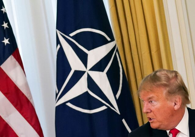 U.S. President Donald Trump speaks during a meeting with NATO Secretary General Jens Stoltenberg (not pictured), ahead of the NATO summit in Watford, in London, Britain, December 3, 2019