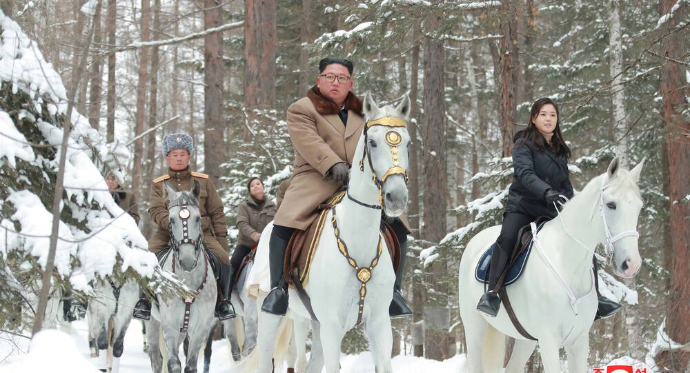 North Korean leader Kim Jong Un rides a horse as he visits battle sites in areas of Mt Paektu, Ryanggang, North Korea, in this undated picture released by North Korea's Central News Agency (KCNA) on December 4, 2019