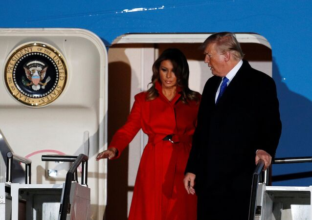 U.S. President Donald Trump and first lady Melania arrive at Stansted Airport, ahead of the NATO summit, in Stansted, Britain December 2, 2019