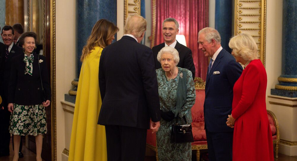 U.S. President Donald Trump with his wife, first lady Melania Trump are seen together with Britain's Prince Charles and Camilla, Duchess of Cornwall during a reception at Buckingham Palace to mark 70 years of the NATO Alliance, hosted by Britain's Queen Elizabeth, in London, Britain, December 3, 2019.