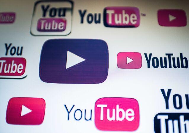 YouTube logos on a computer screen