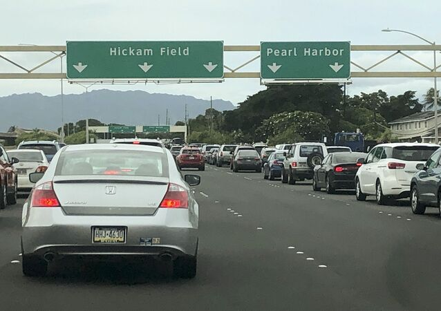 Traffic backs up at the main gates after a shooting at Pearl Harbor Naval shipyard, Wednesday, 4 December 2019, near Pearl Harbor in Honolulu.