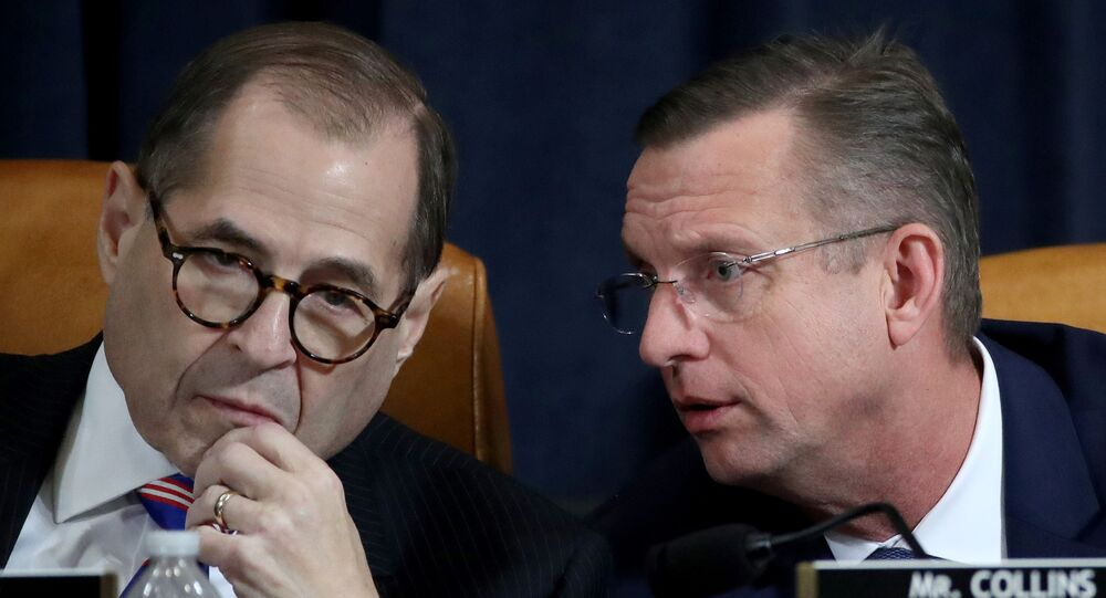 U.S. House Judiciary Committee Chairman Jerry Nadler (D-NY) and ranking member Rep. Doug Collins (R-GA) confer during a House Judiciary Committee hearing on the impeachment Inquiry into U.S. President Donald Trump on Capitol Hill in Washington, U.S., December 4, 2019