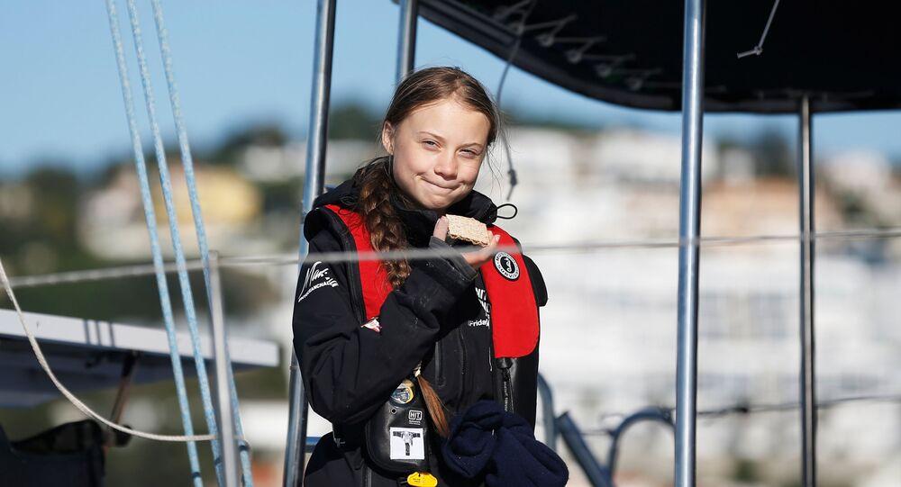 Climate change activist Greta Thunberg arrives aboard the yacht La Vagabonde at Santo Amaro port in Lisbon, Portugal December 3, 2019