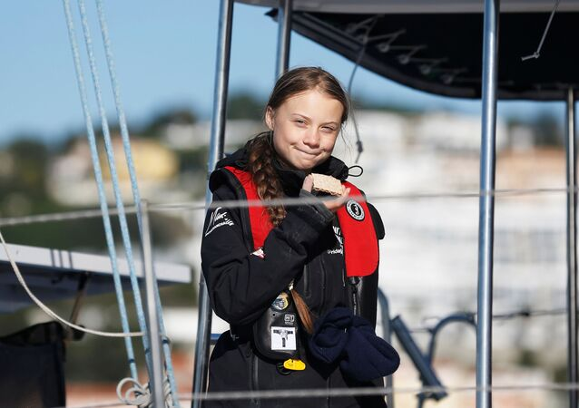Climate change activist Greta Thunberg arrives aboard the yacht La Vagabonde at Santo Amaro port in Lisbon, Portugal December 3, 2019