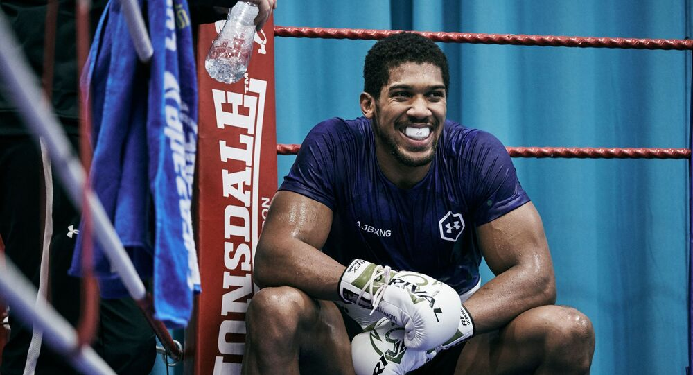 Anthony Joshua in training for his rematch with Andy Ruiz in Saudi Arabia in December 2019
