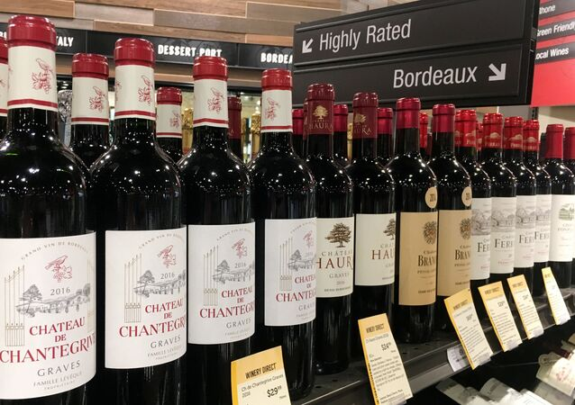 Bottles of French wine are displayed for sale in a liquor store on December 3, 2019 in Arlington, Virginia.