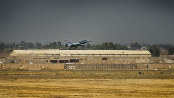An Iraqi F-16 Fighting Falcon fighter aircraft, assigned to the 9th Fighter Squadron, takes off prior to performing a Close Air Support Mission during Air Week at Balad Air Base, Iraq, June 17, 2019. The 9th FS conducted numerous CAS sorties that were controlled by Special Mission Controllers on the ground in support of Air Week. - Sputnik International