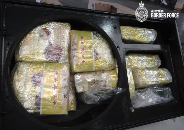 This undated photo provided on Thursday, Dec. 5, 2019, by Australian Border Force shows the drugs in sealed packages after its seizure.  Three people have been charged with drug offenses over Australia's largest seizure of methamphetamine, which had been smuggled to Melbourne from Bangkok in stereo speakers. Police estimate the 1.596 metric tons (1.759 U.S. tons) of the drug also known as ice and crystal meth had a street value of AU$1.197 billion ($818 million). The 37 kilograms (82 pounds) of heroin also seized was the largest haul of that drug in Australia since 2017, a police statement said. (Australian Border Force via AP)