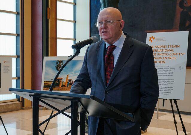 Russian Permanent Representative to UN, Vasily Nebenzya. UN Headquarters in New York.