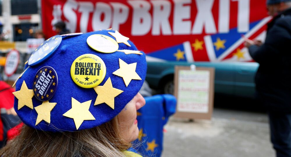Anti-Brexit badges on a protester's beret are pictured during a demonstration in front of the British embassy in Brussels, Belgium December 5, 2019.