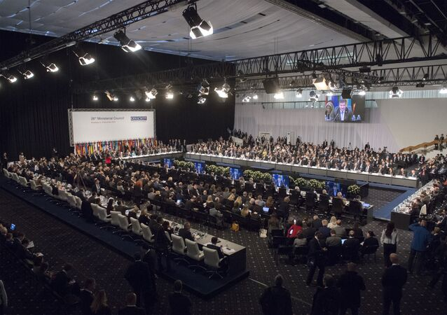 Representatives attend the OSCE, or Organisation for Security and Co-operation in Europe Ministerial Council in Bratislava, Slovakia, Thursday, 5 December 2019